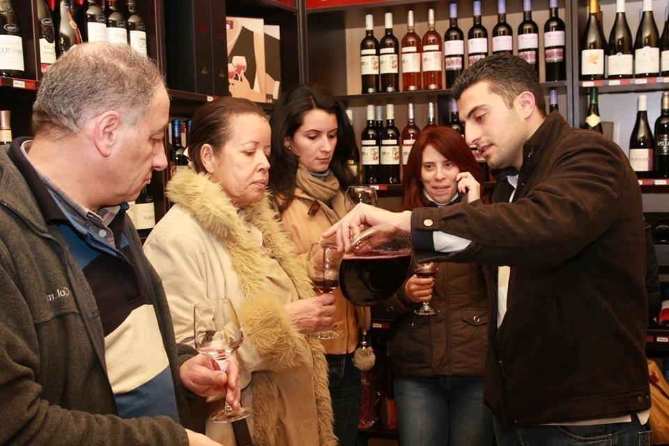 Tasting the wine